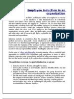 Employee Induction in an Organization
