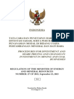 Regulation of MoEMR No. 27 of 2013 Indonesia Procedures for Divestment and Share Pricing and Changes in Investment in Mining and Coal Businesses (Wishnu Basuki)