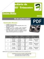 Calendário de Provas - IIIª Trimestre - 2013