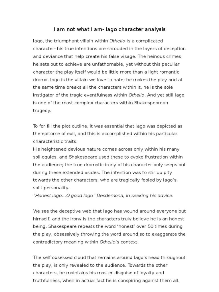 othello essay on iagos motives