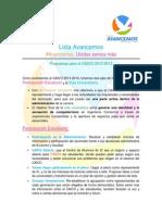 Propuestas como CAICO 2013-2014, Lista Avancemos.