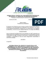 Normas para el Control de la Recuperación de Materiales Peligrosos y el Manejo de los Desechos Peligrosos