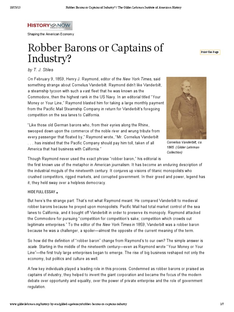 robber barons and rebels essay In this essay, i will argue that industrialization during the history of industrialization the term gilded age was coined by mark twain in 1873 it represented.