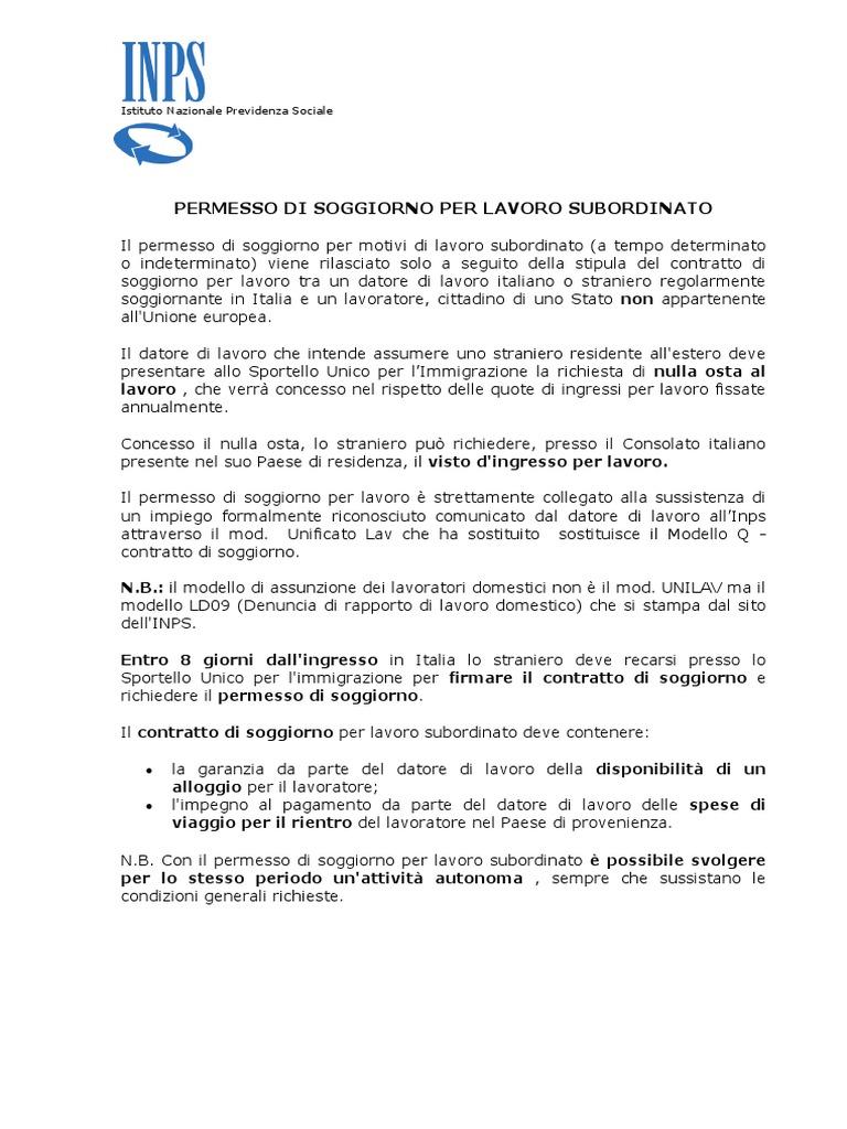 Beautiful Contratto Di Soggiorno Modello Q Contemporary - Modern ...