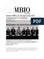 24-10-2013 Diario Matutino Cambio de Puebla - Asiste RMV a la inauguración del congreso de la Conatram