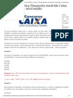 Prova Resolvida Mat Fin CEF 2012
