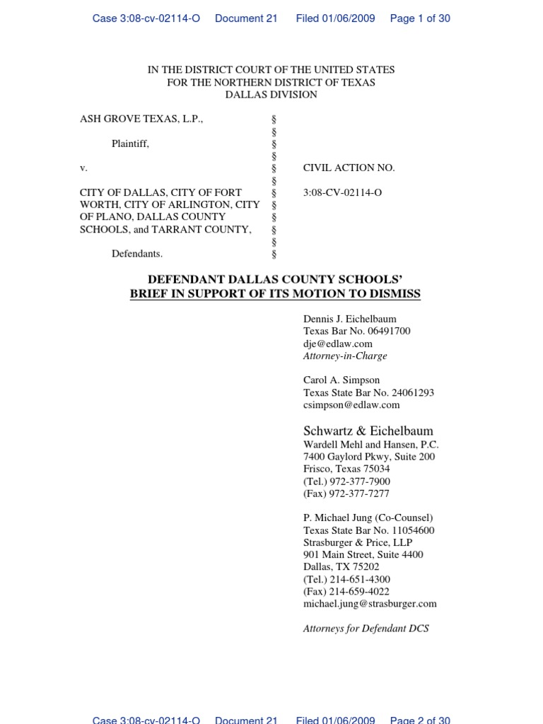 Dallas county schools motion to dismiss ash grove suit complaint dallas county schools motion to dismiss ash grove suit complaint pleading aiddatafo Images