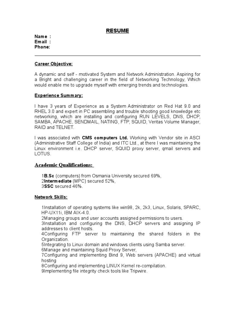 system administrator resumeoslinux linux operating system