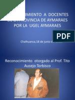 Reconocimiento a Docentes de La Provincia de Aymaraes