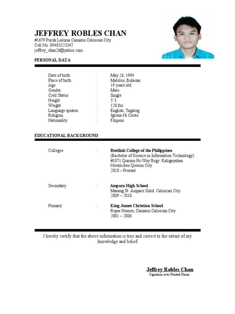 Curriculum Vitae Tagalog Language Philippines Free 30 Day Trial Scribd