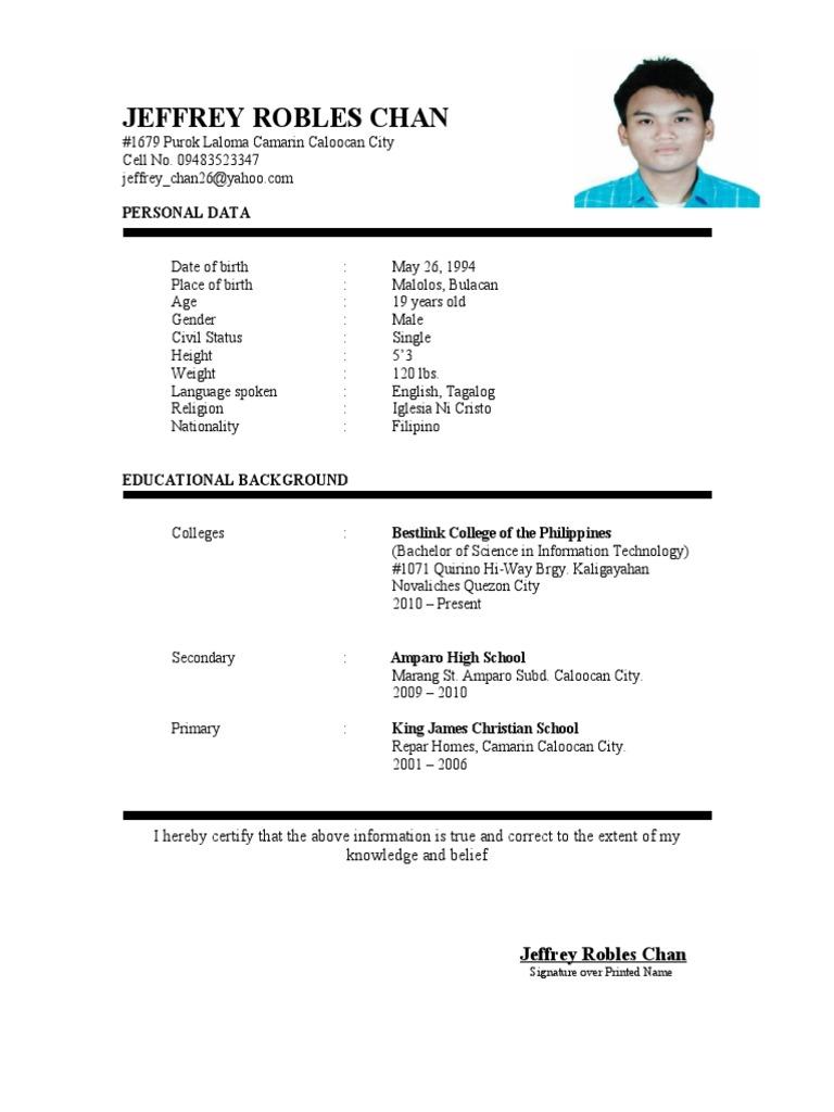 curriculum vitae   Tagalog Language   Philippines