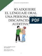 Lenguaje Oral en El Deficiente Auditivo