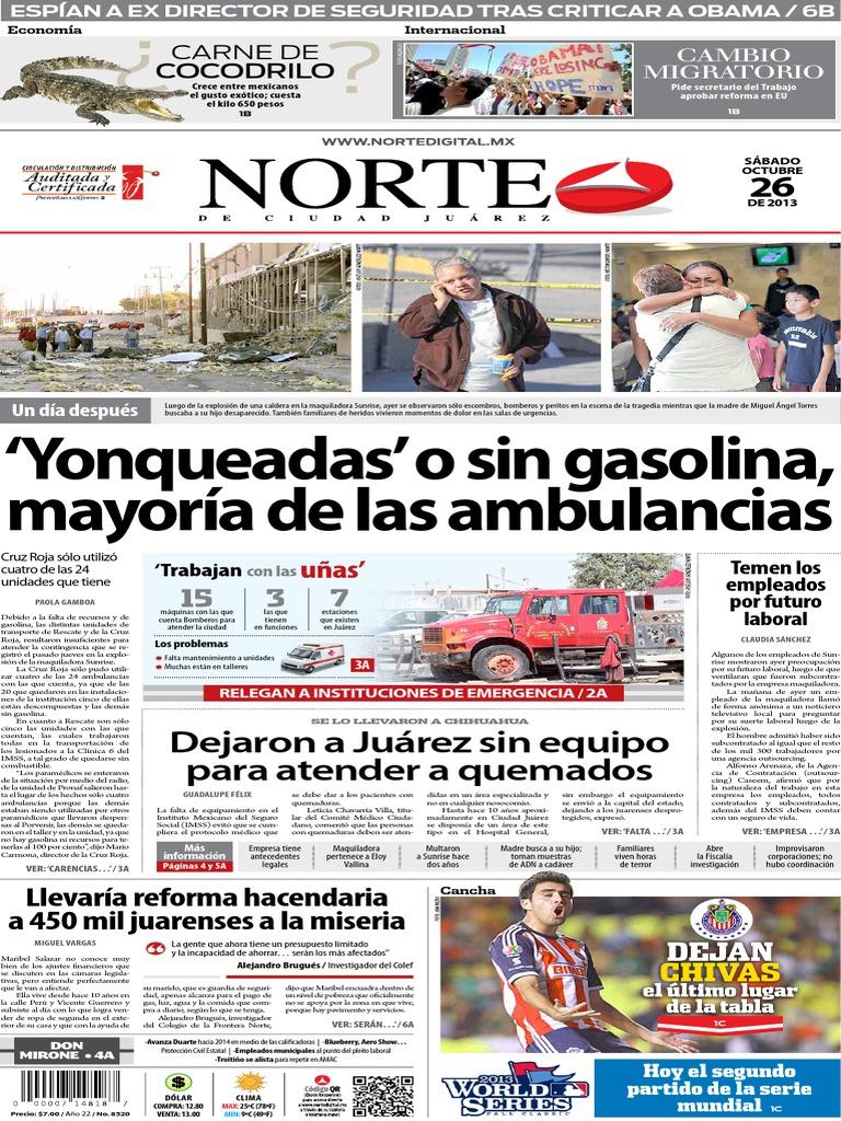 Periódico Norte de Ciudad Juárez 26 de Octubre de 2013 d883535598f5c