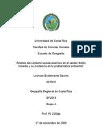 Análisis del contexto socioeconómico en el cantón Belén, Heredia y su incidencia en la problemática ambiental
