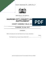 Nairobi City County Finance Bill 2013