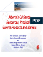 Alberta's Oil Sands Resources, Production Growth,Products and Markets
