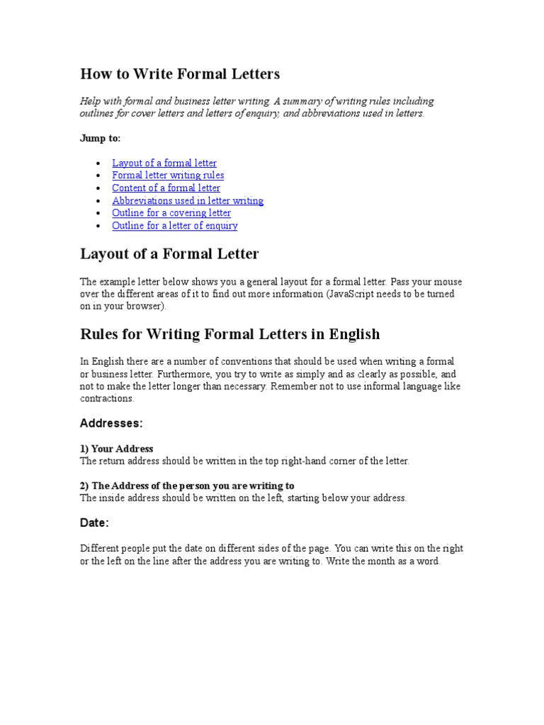 How to write formal letters communication altavistaventures Choice Image
