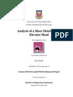 Analysis of a Sheet Metal Bucket Elevator Head