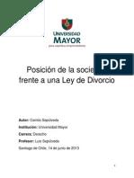 Posición de la sociedad frente a una ley de divorcio