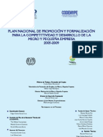 Plan Nacional de Formalización para la Competitividad y Desarrollo de la Micro y Pequeña Empresa