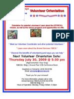Volunteer Orientation Flyer 2009