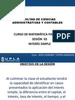 SESIÓN 03 MATEFIN UPLA INTERES SIMPLE 2003-II