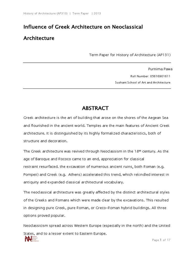 greek influence on neoclassical architecture docx ancient greece