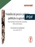 Volatilità dei prezzi e politiche pubbliche in agricoltura, Roberto Sensi