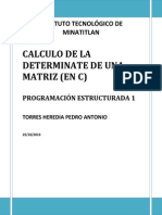 Calculo de La Determinate de Una Matriz