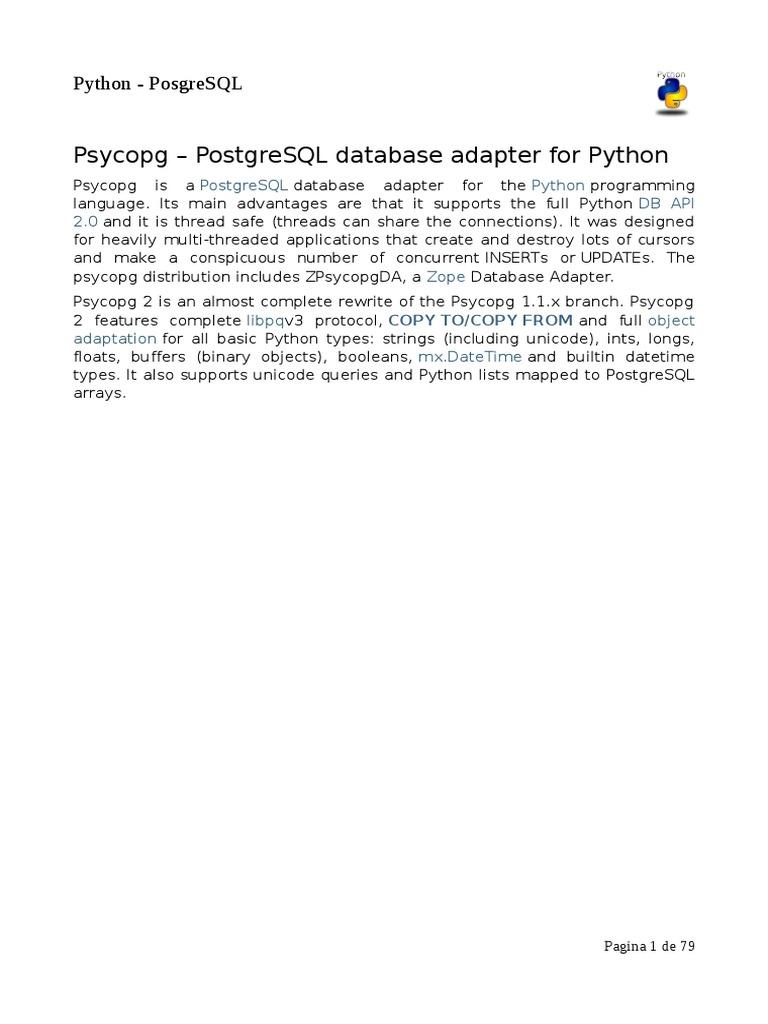 Psycopg – PostgreSQL database adapter for Python pdf | Postgre Sql