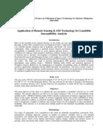 Application of Remote Sensing & GIS Technology for Landslide