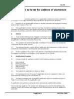 Qualification Scheme for Welders of Aluminium