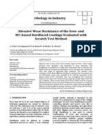 Abrasive wear resistance of the iron- and WC-based hardfaced coatings evaluated with scratch test method