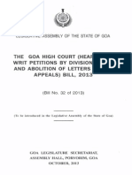 Goa High Court (Hearing of Writ Petitions by Division Bench & Abolition of Letters Patent Appeals) Bill, 2013