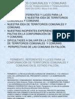 Territorios Comunales y Comunas. Marzo 9 de 2009