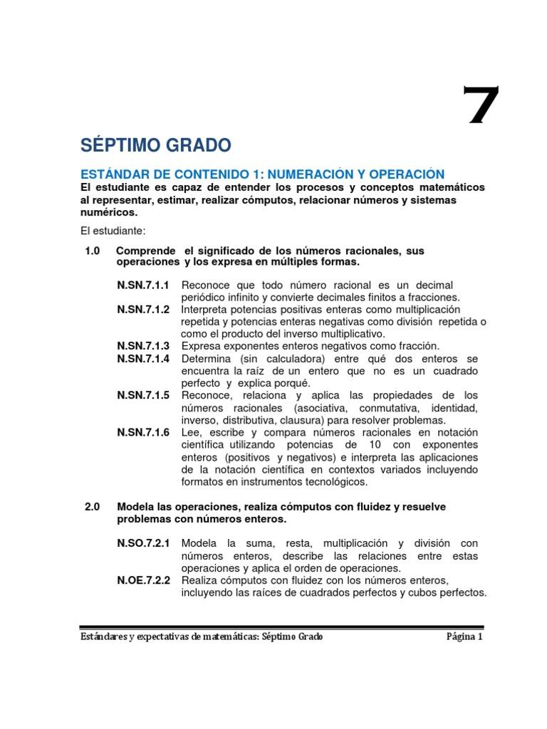Estándares y Expectativas de Matemáticas 7mo Grado