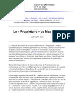 Le Proprietaire chez Max Stirner