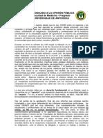 COMUNICADO A LA OPINIÓN PÚBLICA PARO SALUD