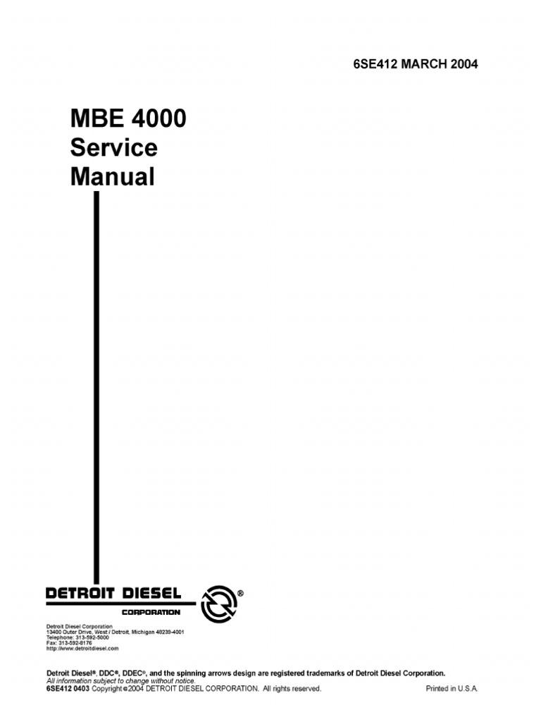 MBE4000 Serv Man | Internal Combustion Engine | Turbocharger