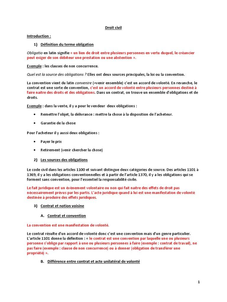 Droit Civil 2eme Annee Droit Des Obligations 1er Semestre