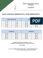 Cesgranrio 2012 Epe Assistente Administrativo Gabarito