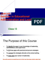 Class 13 Seminar in Educational Administration and Leadership