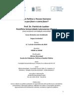 Curso sobre Vida Política e Pessoa Humana com Patrick de Laubier
