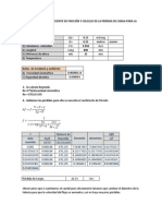 Calculo de coeficiente de fricción y cálculo de la perdida de carga para la tubería