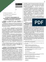 Ley 30097 Financiamiento CTS y Otros