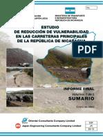 Estudio de la Reducciòn de la Vulnerabilidad en las Carreteras principales de la Republica de Nicaragua (Vol. 1-5) Sumario