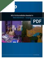 IAO awards full accreditation to Maria Montessori.