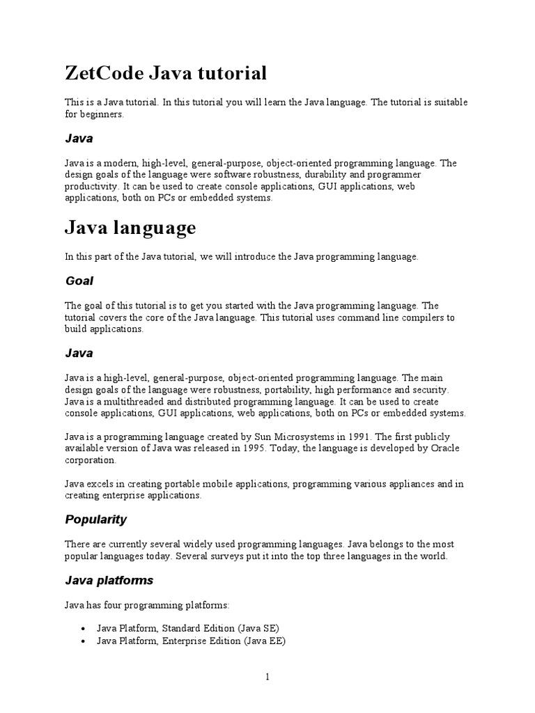 ZetCode Java tutorial doc | Java (Programming Language