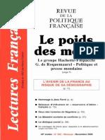 Lectures Françaises - Le poids des media