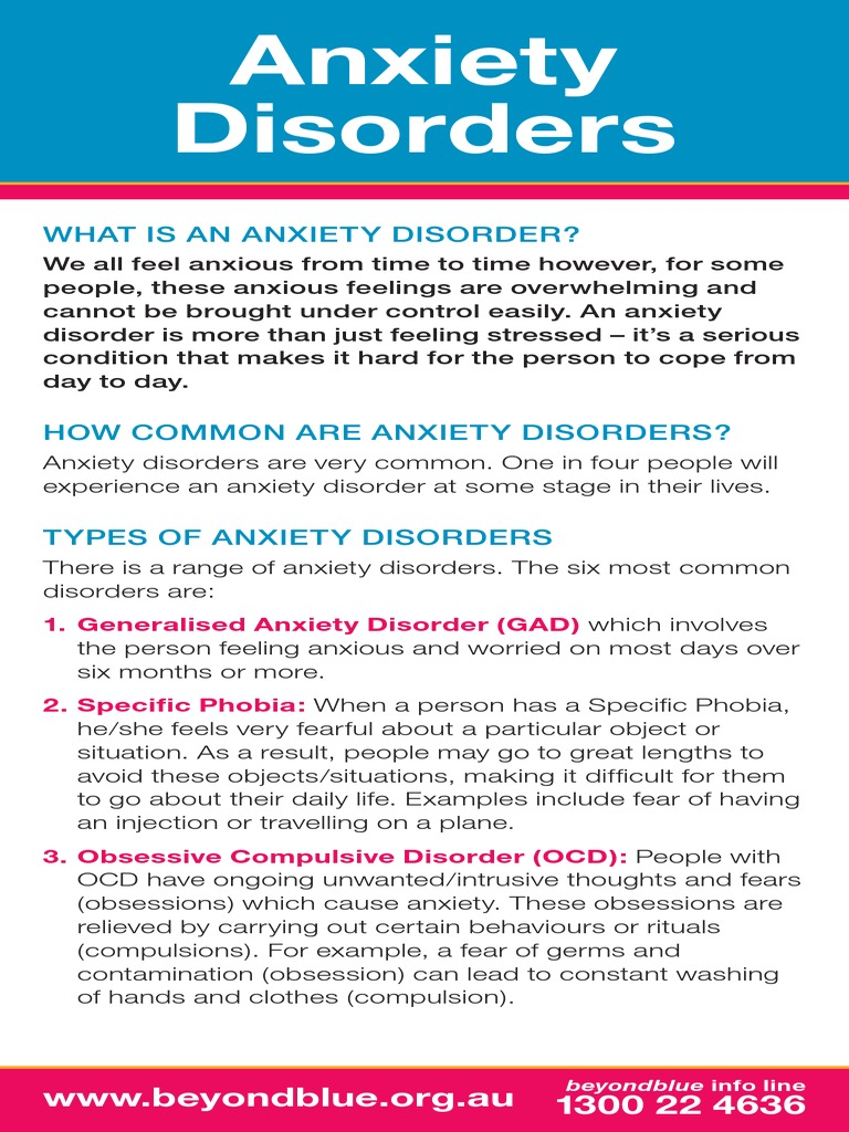 Anxiety Disorders Anxiety Disorder Obsessivecompulsive Disorder
